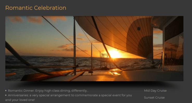 romantic dinner on yacht